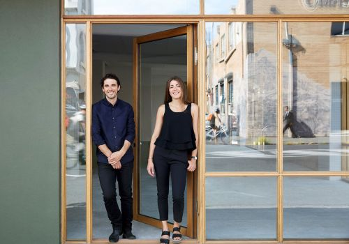 Liam Wallis and Katya Crema, Directors of HIP V. HYPE stand outside their studio in Brunswick.